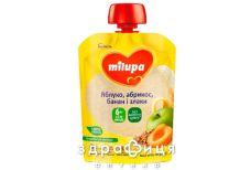 Дитяче харчування milupa пюре фрукт яблуко/абрикос/банан/просо/жито з 6міс 80г