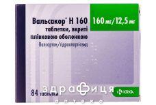 Вальсакор Н 160 таб п/о 160мг/12,5мг №28 - таблетки от повышенного давления (гипертонии)