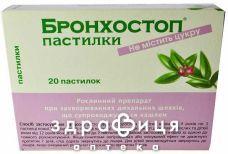 Бронхостоп пастилки пастилки 59,5 мг блiстер №20 відхаркувальні засоби, сиропи, таблетки