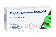 Спiронолактон сандоз таб 50мг №30 (10х3) бл - сечогінні та діуретики