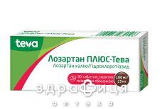 Лозартан плюс-Тева таб п/о 100мг/25мг №30 - таблетки от повышенного давления (гипертонии)