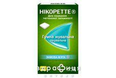 Нікоретте Зимова м'ята гумка жувальна для лікування тютюнової залежності, по 4 мг 30 шт Таблетки від куріння