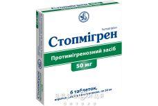 Стопмiгрен таб в/о 50мг №6 таблетки від головного болю